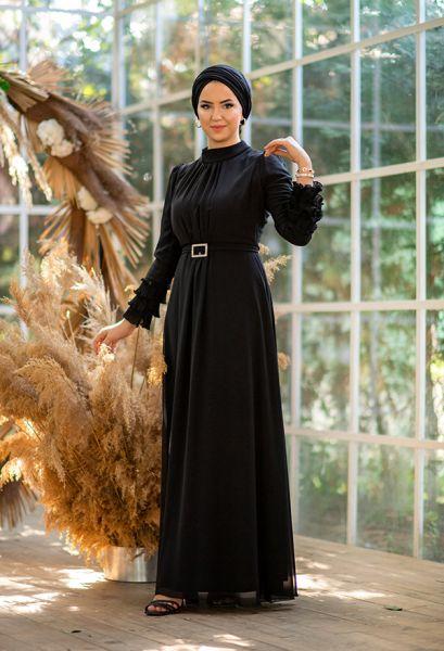 VENEZİA WEAR - Venezia Wear Kolu Büzgülü Abiye Elbise - Siyah (1)