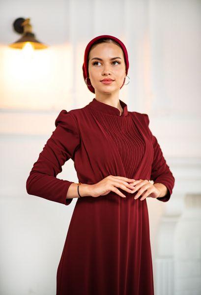 VENEZİA WEAR - Venezia Wear Kruvaze Abiye Elbise - Bordo (1)