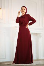 Venezia Wear Kruvaze Abiye Elbise - Bordo - Thumbnail