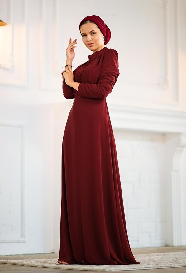 Venezia Wear Kruvaze Abiye Elbise - Bordo