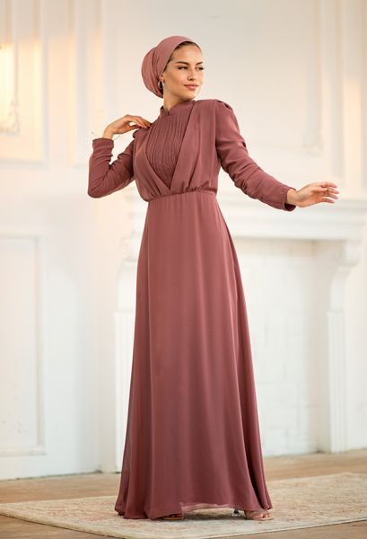 VENEZİA WEAR - Venezia Wear Kruvaze Abiye Elbise - Gül Kurusu (1)
