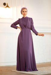 Venezia Wear Kruvaze Abiye Elbise - Lila - Thumbnail