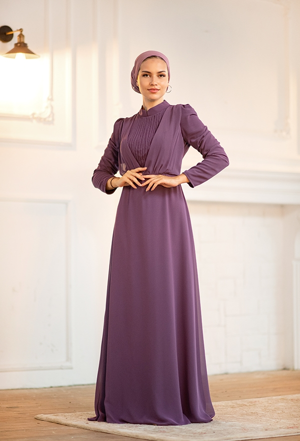 Venezia Wear Kruvaze Abiye Elbise - Lila