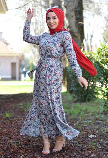 VENEZİA WEAR - Venezia Wear Kuşaklı Elbise - Bordo (1)