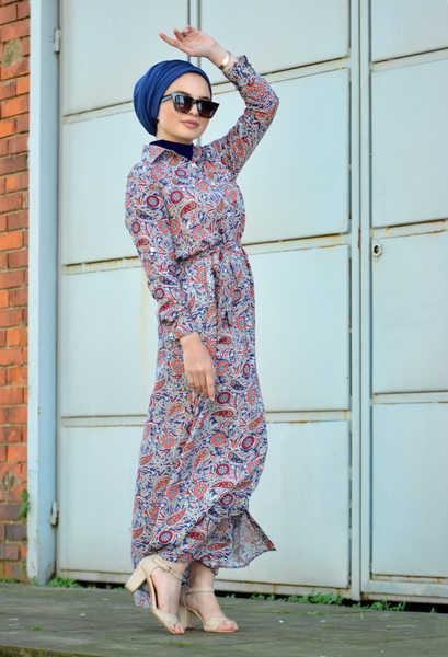 VENEZİA WEAR - Venezia Wear Kuşaklı Elbise - Mavi (1)