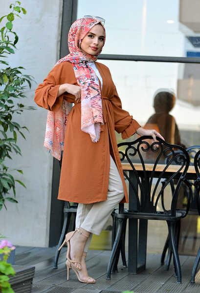 VENEZİA WEAR - Venezia Wear Kuşaklı Kol Büzgülü Kimono - Kiremit (1)