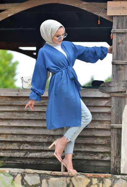 VENEZİA WEAR - Venezia Wear Kuşaklı Kol Büzgülü Kimono - Mavi (1)