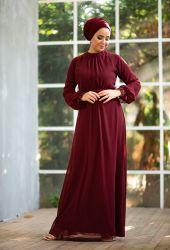 Venezia Wear Önü Büzgülü Abiye Elbise - Bordo - Thumbnail