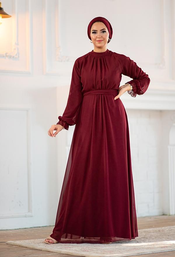 Venezia Wear Önü Büzgülü Abiye Elbise - Bordo