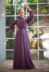 Venezia Wear Önü Büzgülü Abiye Elbise - Lila - Thumbnail