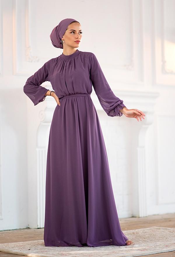 Venezia Wear Önü Büzgülü Abiye Elbise - Lila