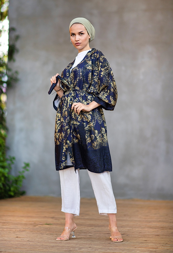 Venezia Wear Otantik Desen Kimono - Lacivert