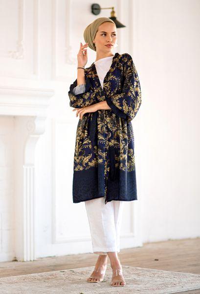 VENEZİA WEAR - Venezia Wear Otantik Desen Kimono - Lacivert (1)