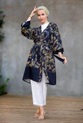 Venezia Wear Otantik Desen Kimono - Lacivert - Thumbnail