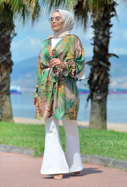 VENEZİA WEAR - Venezia Wear Palmiye Desen Kimono - Yeşil (1)