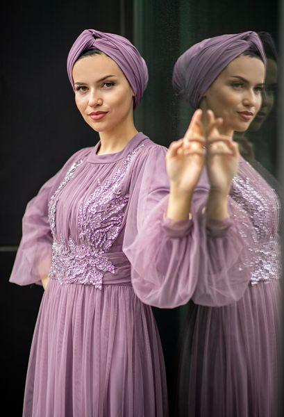 VENEZİA WEAR - Venezia Wear Payetli Tül Abiye Elbise - Lila (1)