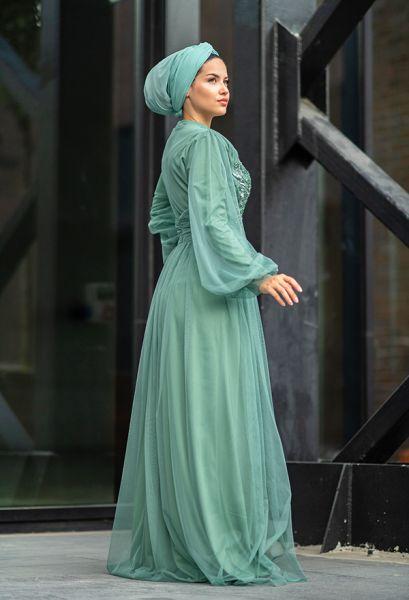 VENEZİA WEAR - Venezia Wear Payetli Tül Abiye Elbise - Mint Yeşili (1)
