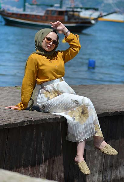 VENEZİA WEAR - Venezia Wear Pileli Desenli Şifon Etek - Sarı (1)