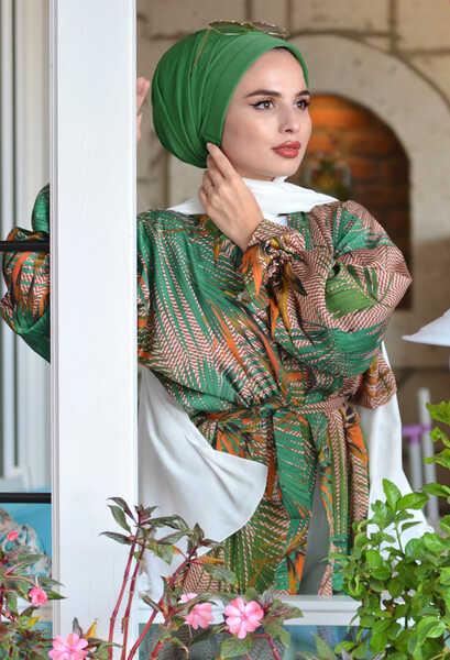 VENEZİA WEAR - Venezia Wear Pileli Dış Bone Şal - Fıstık Yeşili (1)
