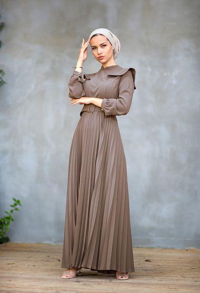 VENEZİA WEAR - Venezia Wear Pileli Kemer Detaylı Elbise - Vizon (1)