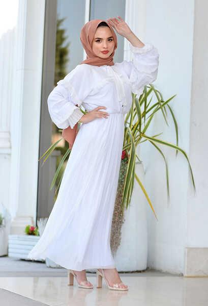 VENEZİA WEAR - Venezia Wear Pileli Şifon Elbise - Beyaz (1)