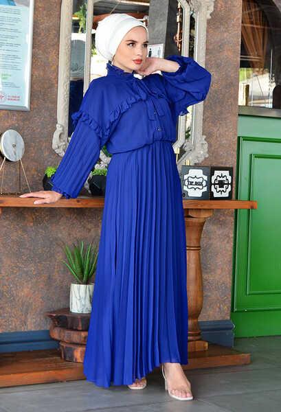 VENEZİA WEAR - Venezia Wear Pileli Şifon Elbise - Saks (1)