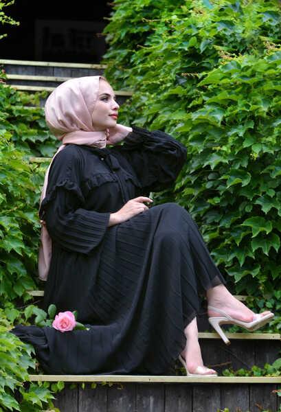 VENEZİA WEAR - Venezia Wear Pileli Şifon Elbise - Siyah (1)