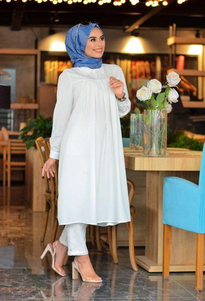VENEZİA WEAR - Venezia Wear Pileli Tesettür Gömlek - Beyaz (1)