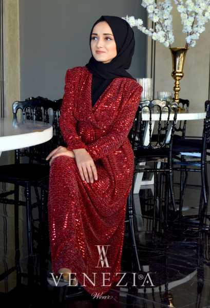 VENEZİA WEAR - Venezia Wear Pullu Kruvaze Abiye Elbise - Kırmızı (1)