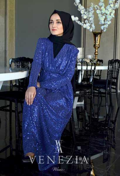 VENEZİA WEAR - Venezia Wear Pullu Kruvaze Abiye Elbise - Saks (1)
