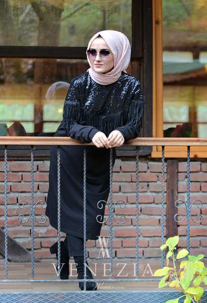 VENEZİA WEAR - Venezia Wear Püsküllü Payetli Tunik - Siyah (1)