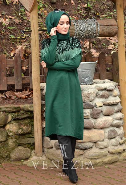 VENEZİA WEAR - Venezia Wear Püsküllü Payetli Tunik - Zümrüt Yeşili (1)