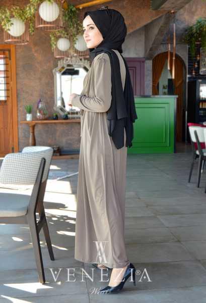 VENEZİA WEAR - Venezia Wear Sandy Kruvaze Elbise - Vizon (1)