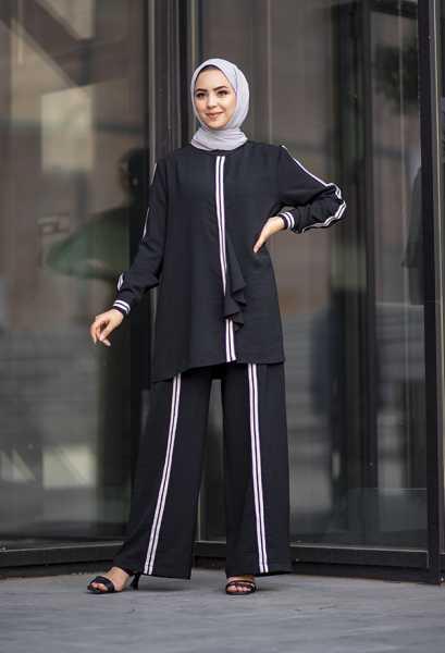VENEZİA WEAR - Venezia Wear Şeritli Cazz Takım - Siyah (1)