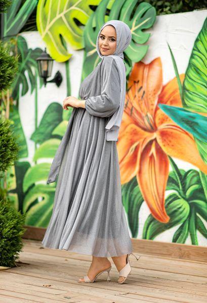 VENEZİA WEAR - Venezia Wear Simli Abiye Elbise - Gri (1)