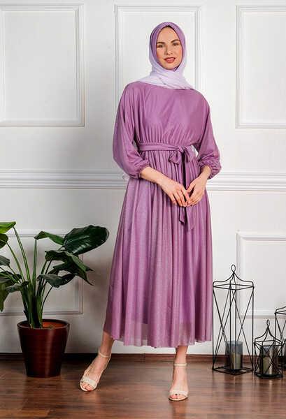 VENEZİA WEAR - Venezia Wear Simli Abiye Elbise - Lila (1)