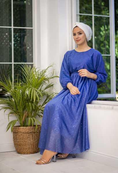 VENEZİA WEAR - Venezia Wear Simli Abiye Elbise - Saks (1)