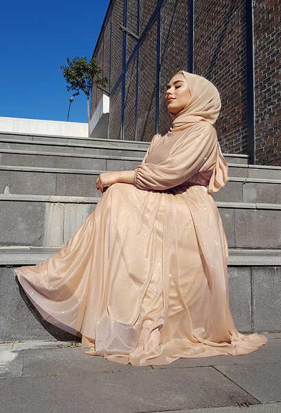 VENEZİA WEAR - Venezia Wear Simli Abiye Elbise - Vizon (1)