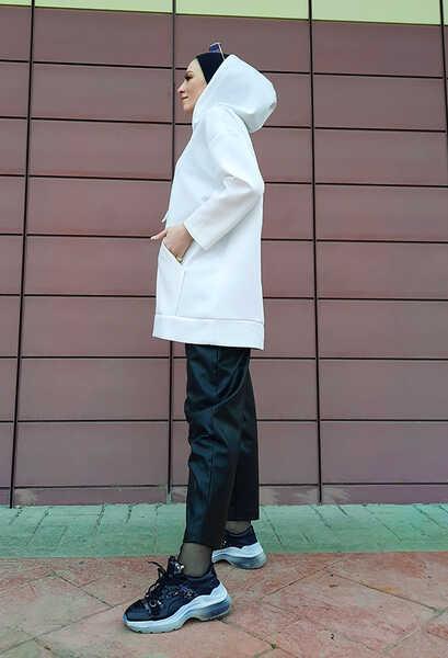 VENEZİA WEAR - Venezia Wear Spor Model Kapşonlu Sweat - Beyaz (1)