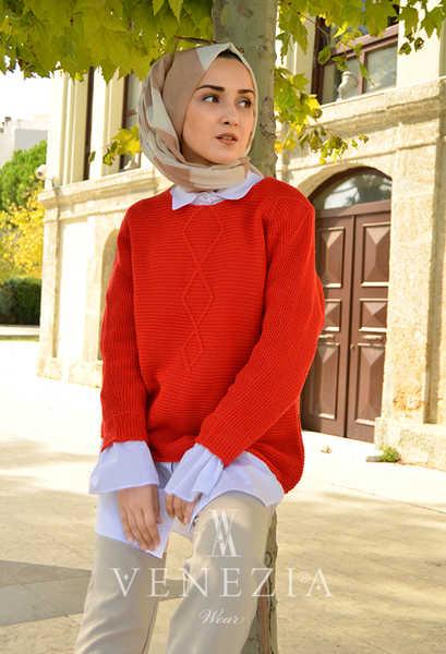 VENEZİA WEAR - Venezia Wear Tasarım Tesettür Kısa Kazak - Kırmızı (1)