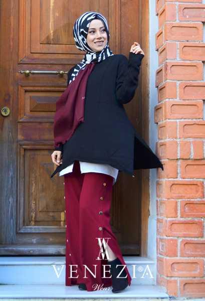 VENEZİA WEAR - Venezia Wear Tasarım Tesettür Triko Tunik - Siyah (1)