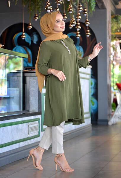 VENEZİA WEAR - Venezia Wear Taşlı Tesettür Gömlek - Yeşil (1)