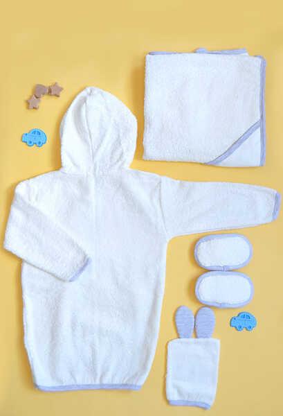 VENEZİA WEAR - Venezia Wear Tavşanlı Bebek Bornoz Seti - Gri (1)