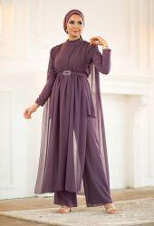 Venezia Wear Tül Detaylı Pelerin Takım - Lila - Thumbnail