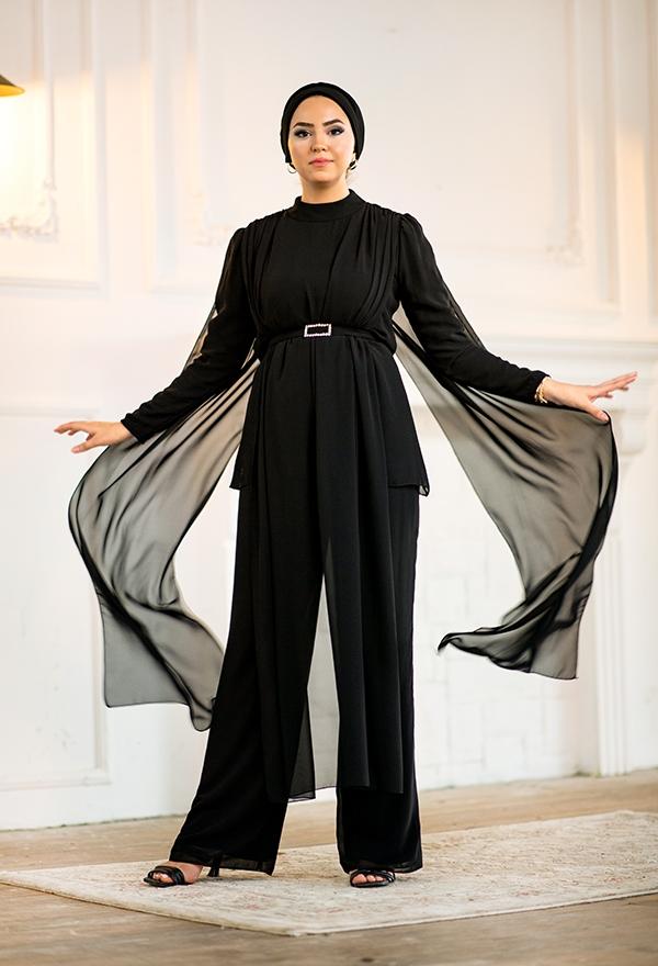 Venezia Wear Tül Detaylı Pelerin Takım - Siyah