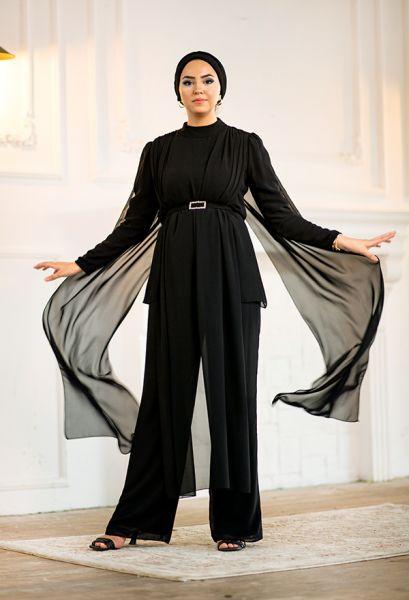 VENEZİA WEAR - Venezia Wear Tül Detaylı Pelerin Takım - Siyah (1)