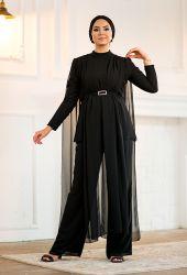 Venezia Wear Tül Detaylı Pelerin Takım - Siyah - Thumbnail