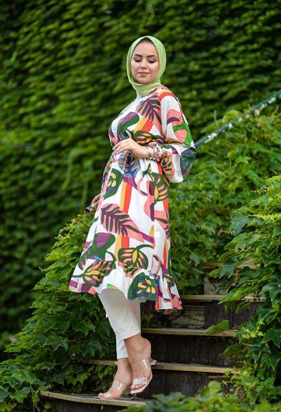 VENEZİA WEAR - Venezia Wear Yaprak Desenli Kimono - Beyaz (1)