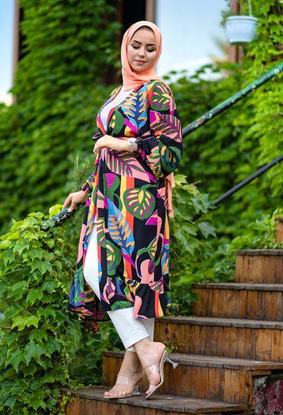 VENEZİA WEAR - Venezia Wear Yaprak Desenli Kimono - Siyah (1)
