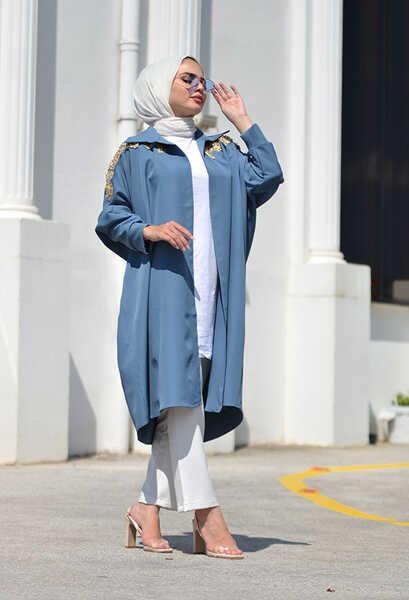 VENEZİA WEAR - Venezia Wear Yarasa Kol Boncuklu Kimono - İndigo (1)